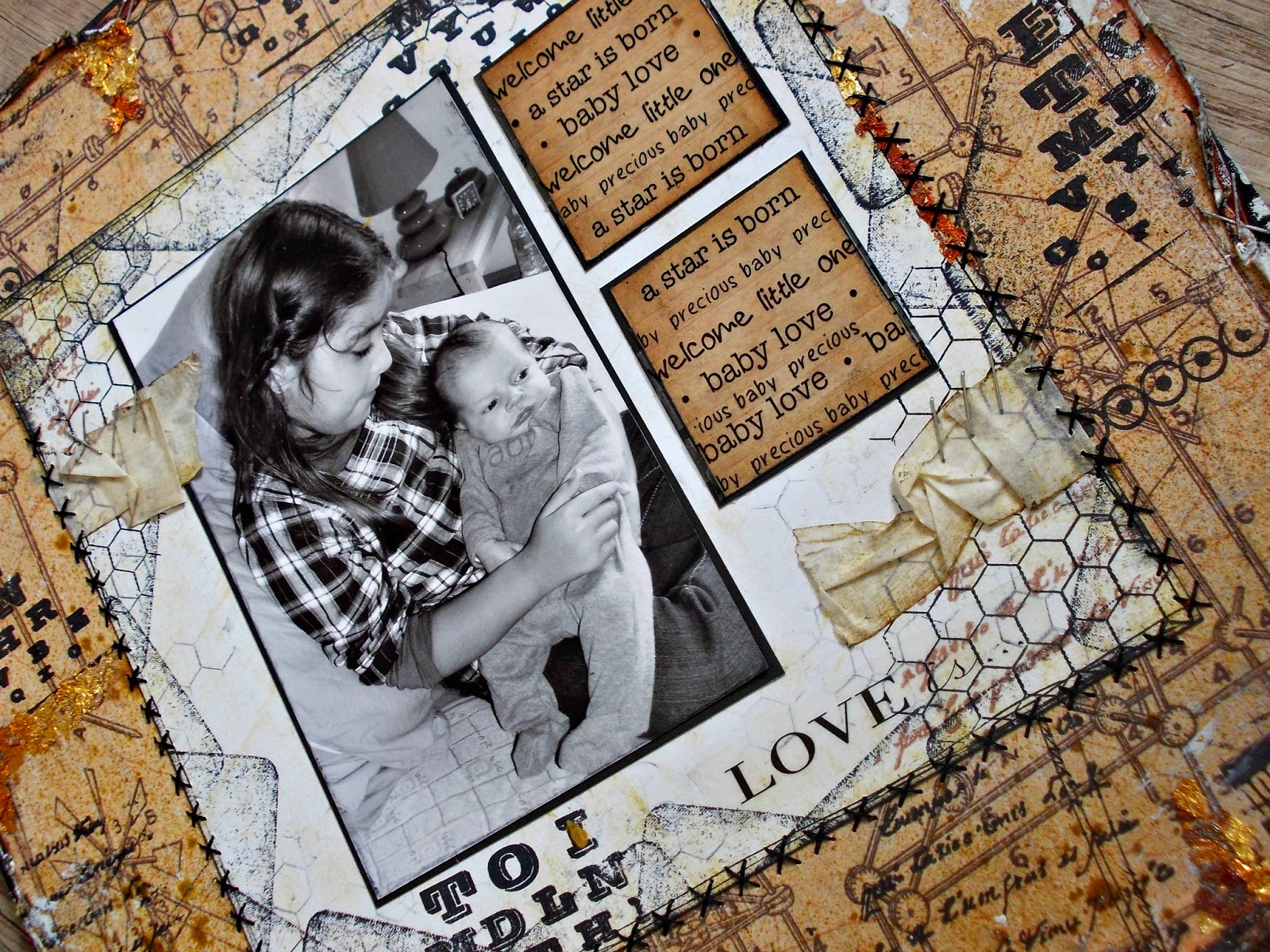 SRM Stickers Blog - Vintage Layout by Angélique - #baby #stickers #borders #love #stitches #layout