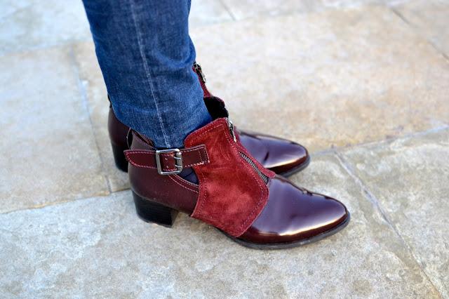 street style look botines calzado burdeos invierno
