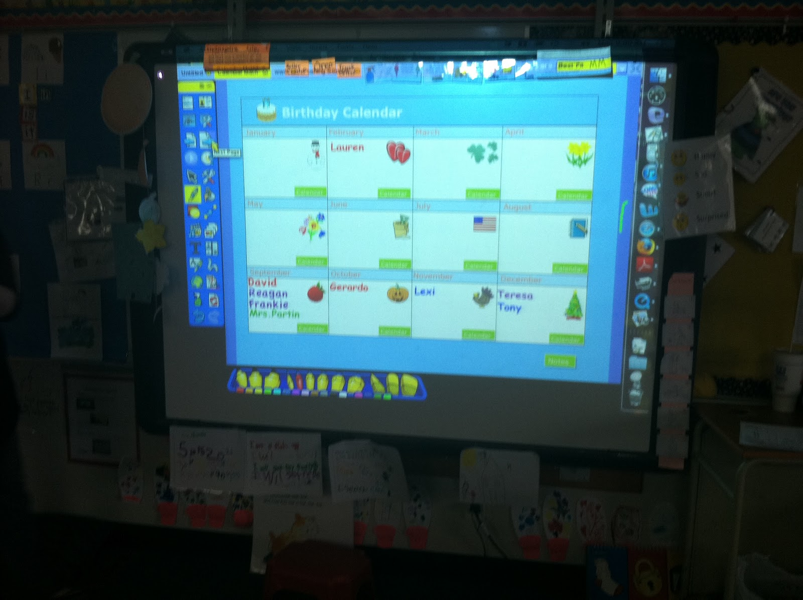 Kindergarten Calendar Interactive Whiteboard : Kindergarten smiles morning message calendar time