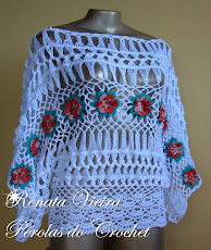 Blusa em croche de grampo com flores