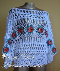 Blusa em croche de grampo com flores