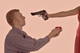 Man proposing at gun point