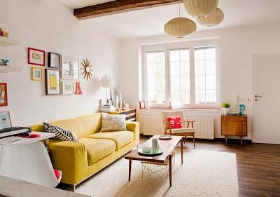 Desain Interior Ruang Tamu Minimalis Warna Kuning