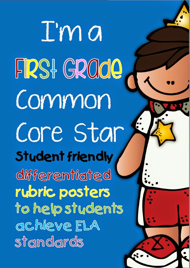 I'm a First Grade Common Core Star posters and checklists for assessments - differentiated standards