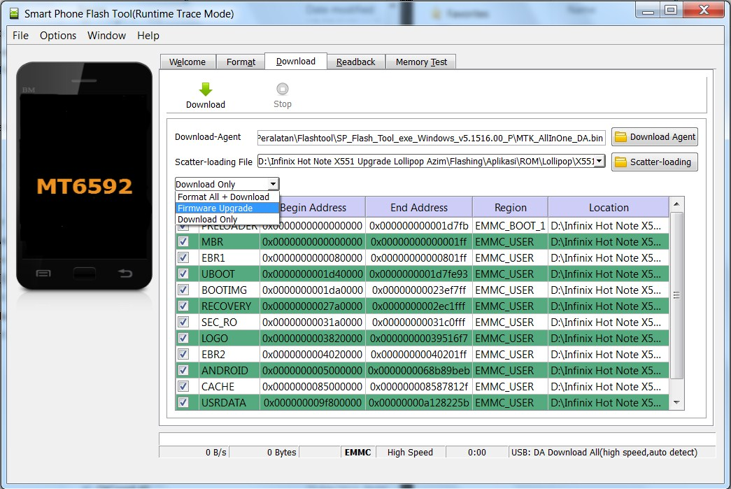 Pilih Firmware Upgrade Pada Flashtool
