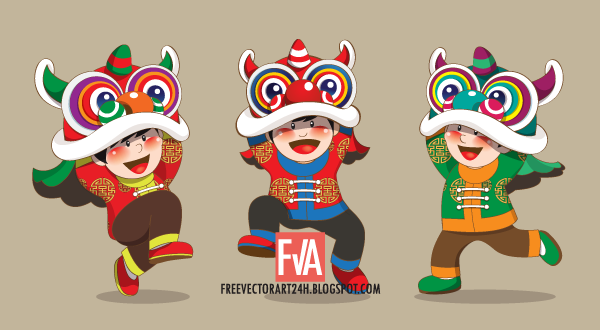 3-kids-playing-chinese-lion-dance-vector