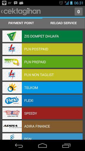 Tampilan utama CEKTAGIHAN - aplikasi bayar tagihan pln internet telkom beli pulsa di android (rev-all.blogspot.com)