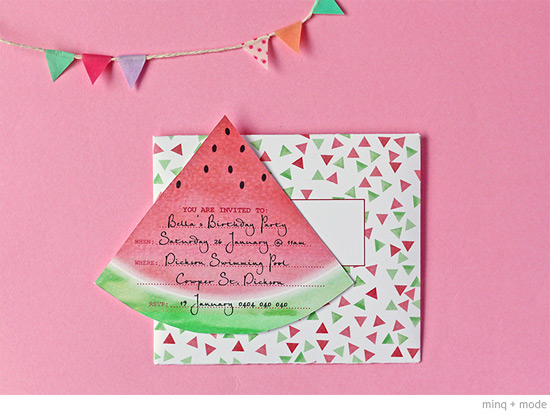 bondville: our watermelon party 4th birthday, Birthday invitations