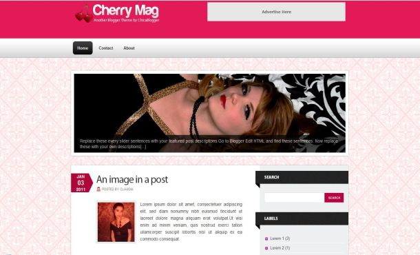 Cherry Pink Girly Magazine Blogger Template