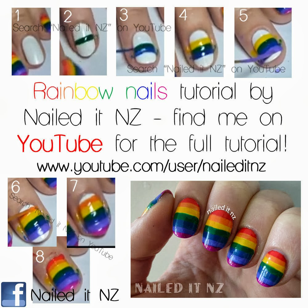 Rainbow Nail Art With Tutorials