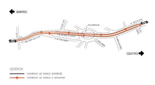 Mapa Faixa exclusiva Túnel Nove de Julho e Viaduto dr. Plínio de Queiroz