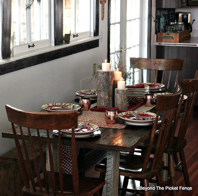 christmas dishes, christmas table, Christmas decor, home for Christmas, woodland decor, http://bec4-beyondthepicketfence.blogspot.com/2015/12/home-for-christmas-home-tour-blog-hop.html