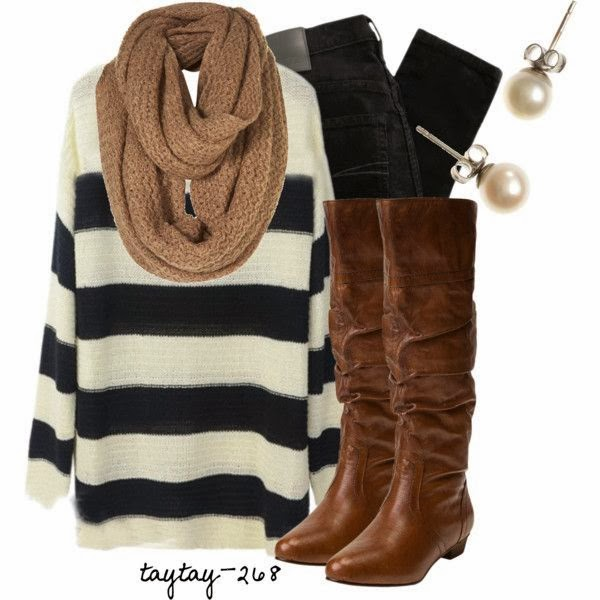Black and white sweater denim pants long boots with scarf
