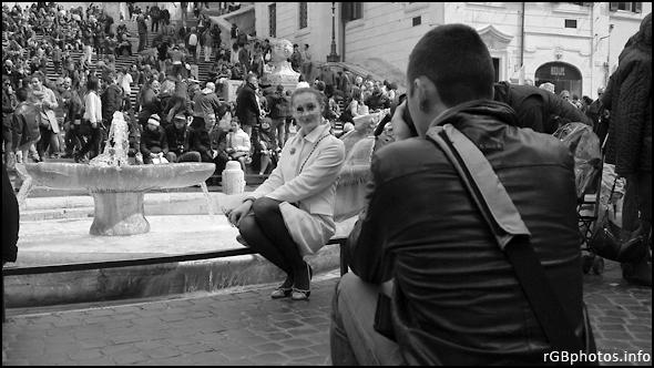 Fotografia di una fotoricordo in Piazza di Spagna