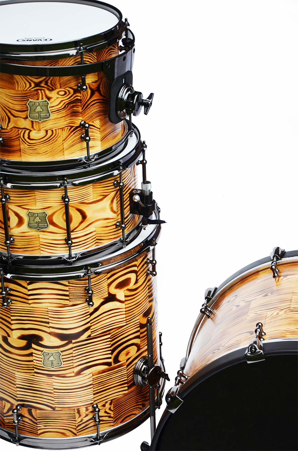 outlaw drum company forest fire segmented drum kit