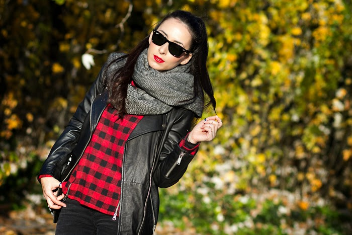 RED & BLACK PLAID BLOUSE IN A ROCK STYLE OUTFIT