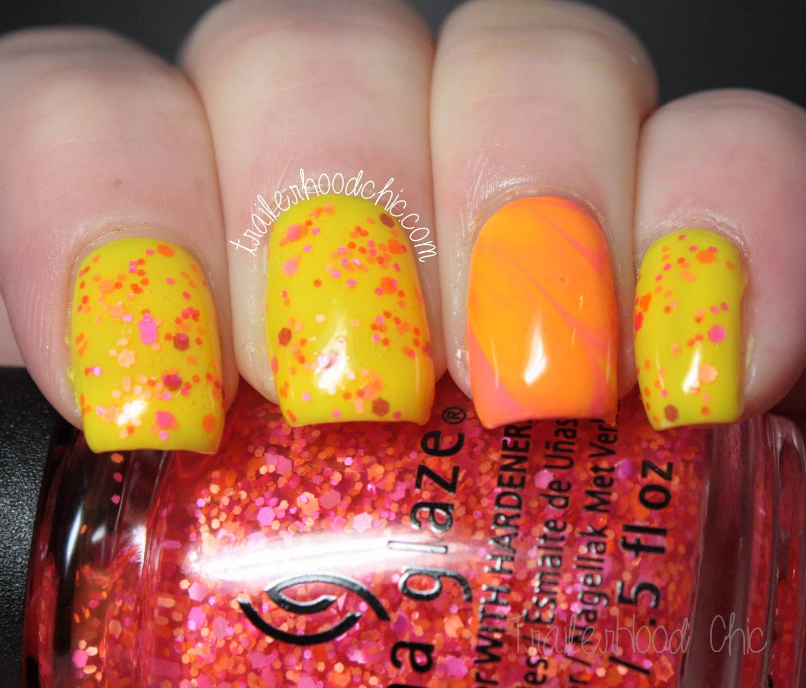 china glaze electric nights glitters neon watermarble let the beat drop