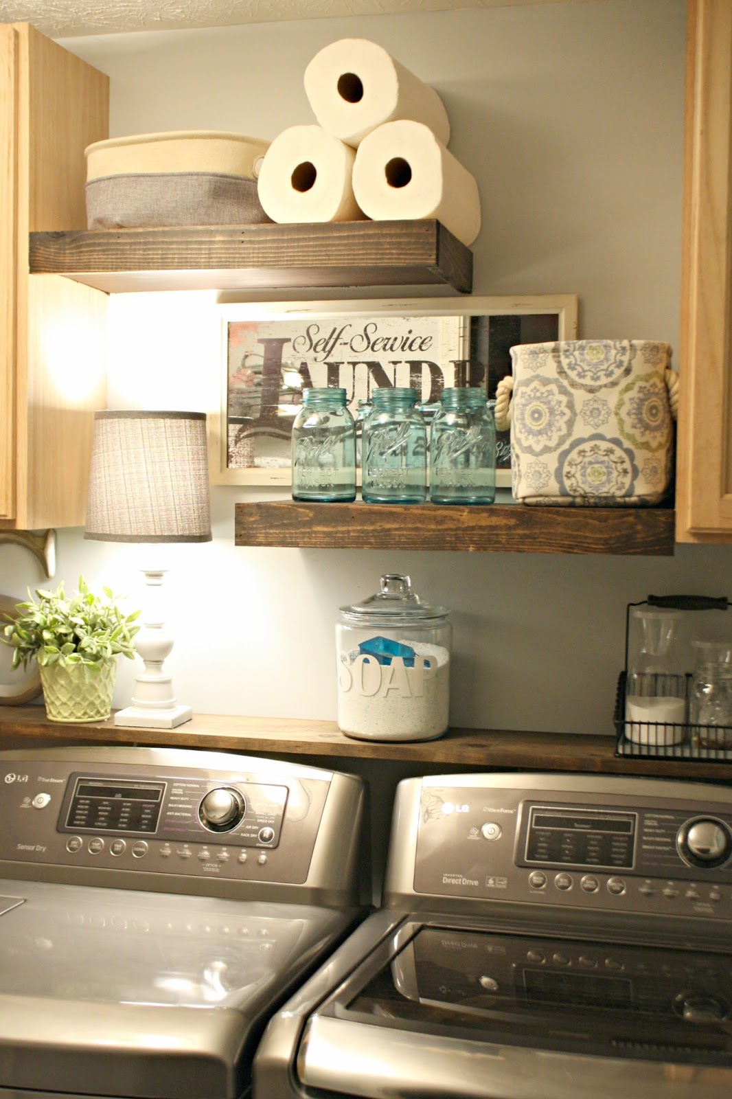 DIY laundry shelves