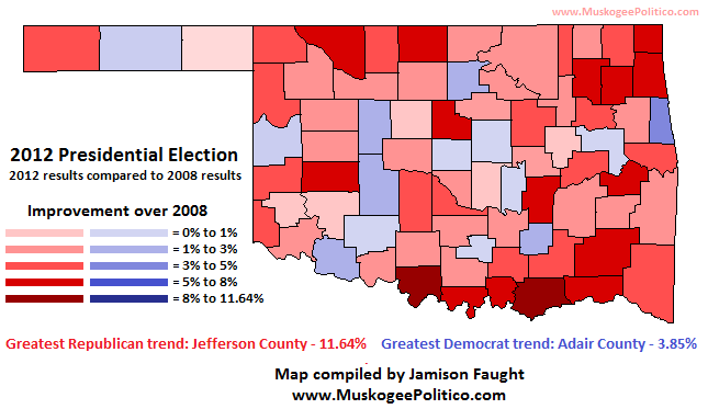 This Map Shows The Trends In Voting When Comparing The 2008 Presidential Race And The 2012 Presidential Race In Oklahoma Counties Colored A Shade Of Red