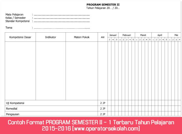 Contoh Format PROGRAM SEMESTER II - 1 Terbaru Tahun Pelajaran 2015-2016 [www.operatorsekolah.com]