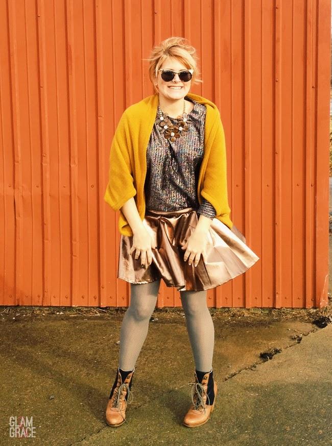 metallics & mustard oversized sweater