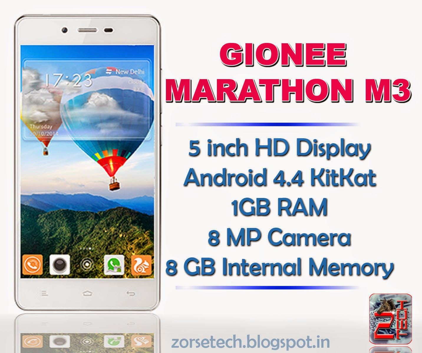 Gionee Marathon M3 with 5 inch Hd display, 1 GB RAM, 8 mp camera, 8 GB internal memory etc...