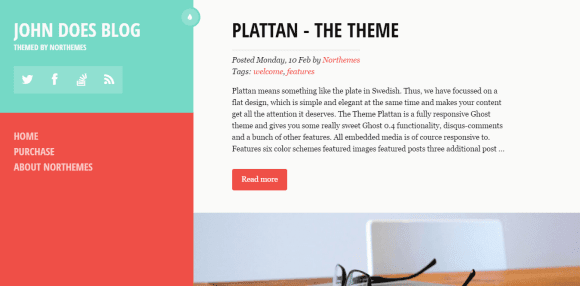 Responsive, Flat and Clean Ghost Theme