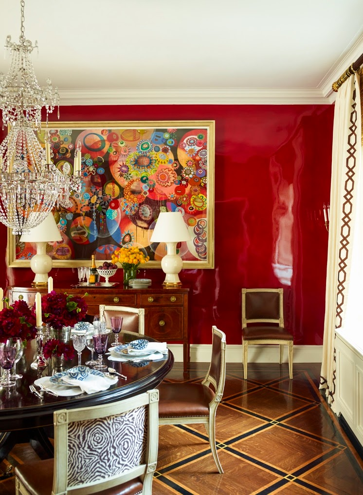 The glam pad a posh park avenue duplex by ashley whittaker for Dining room ideas with red walls