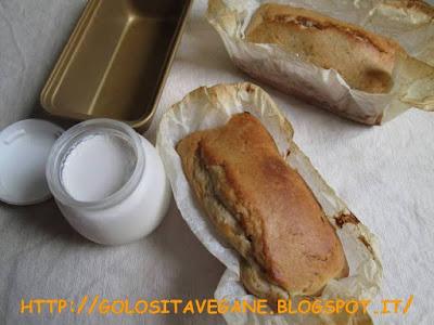plumcake, colazione, Dolci, forno, olio di riso, zucchero, yogurt soia, farina semi integrale, lievitati, lievito, ricette vegan,