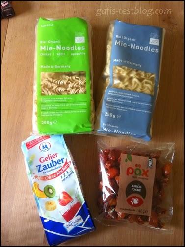 Alb-Gold Mie-Noodles Dinkel und 1x Alb-Gold Mie-Noodles, Diamant Gelierzauber, PÄX getrocknete Kirschtomaten