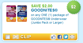 $2.00 off one package of GOODNITES Underwear