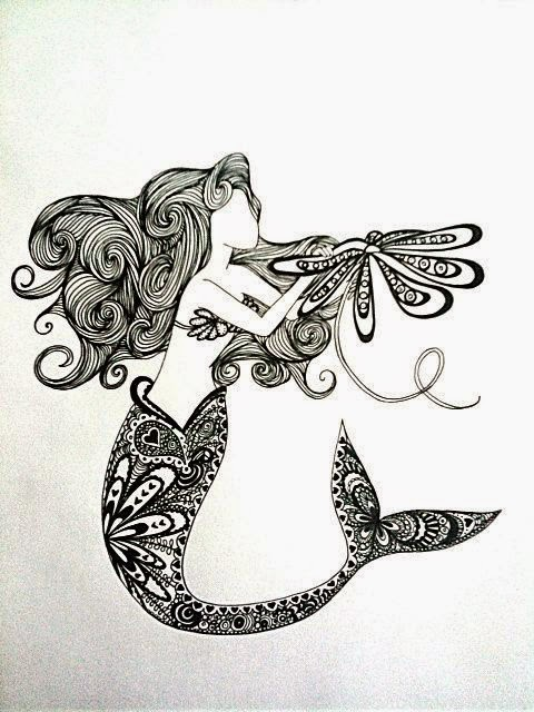 zentangle mermaid tattoo