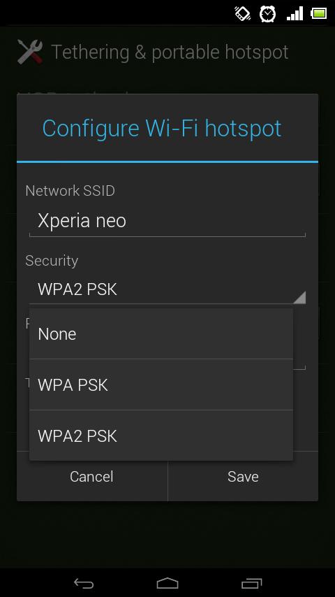 selanjunya pilih configure wi fi hotspot dan anda akan