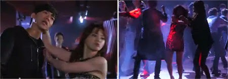 Eun Dae Goo gets grabbed by the hair in the club. / Fighting breaks out on the dancefloor.