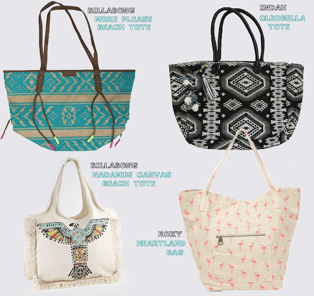 beach totes, billabong totes, beach bags, cute totes, cute beach bags, roxy heartland bag, indah cleobella tote, billabong nadamus canvas tote, billabong more please beach tote