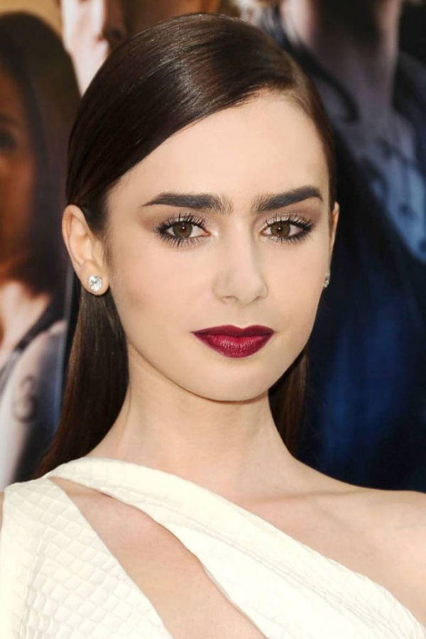 Lily Collins Big Eyebrows Purple Berry Dark Lips