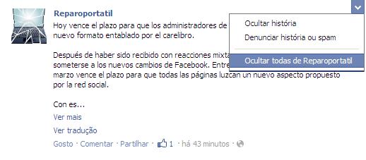 Ocultar Página Facebook