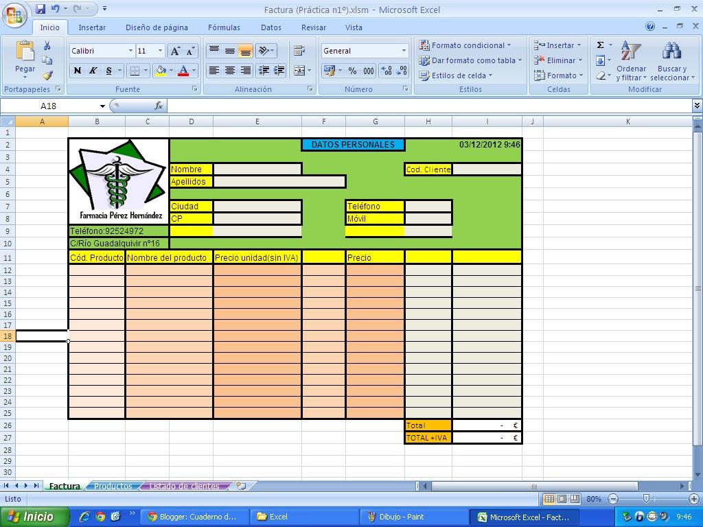 Cuaderno de Informática 2.0: 3.Excel (3.1 FACTURA)