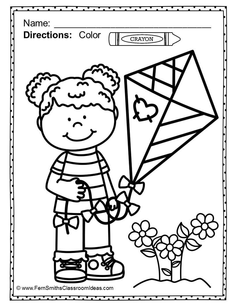 Fern's Freebie Friday's FREE Color For Fun Spring Printable for newsletter subscribers only.