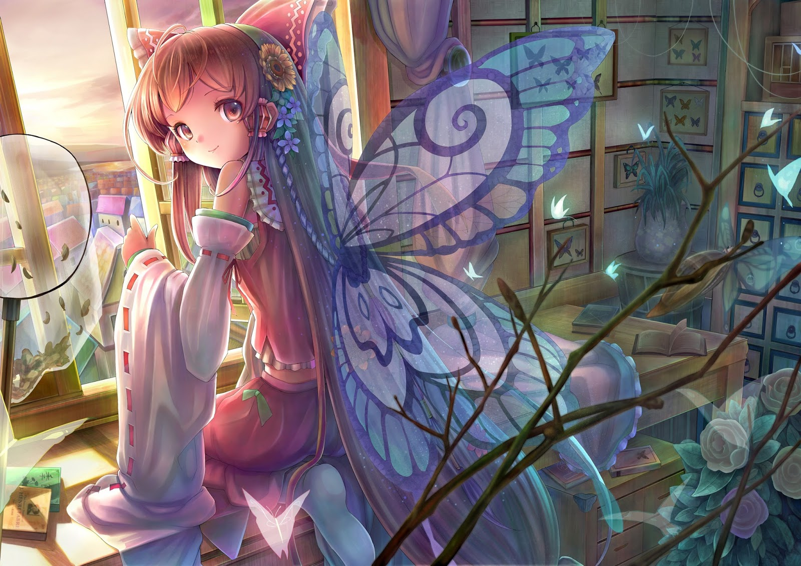 Cute Girl Butterfly Wings Smiling Anime HD Wallpaper Backgrounds Photo ...: www.wallpaper404.com/2013/09/cute-girl-smiling-butterfly-wings-c44...
