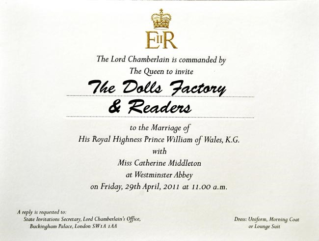 william and kate wedding invite. william and kate wedding