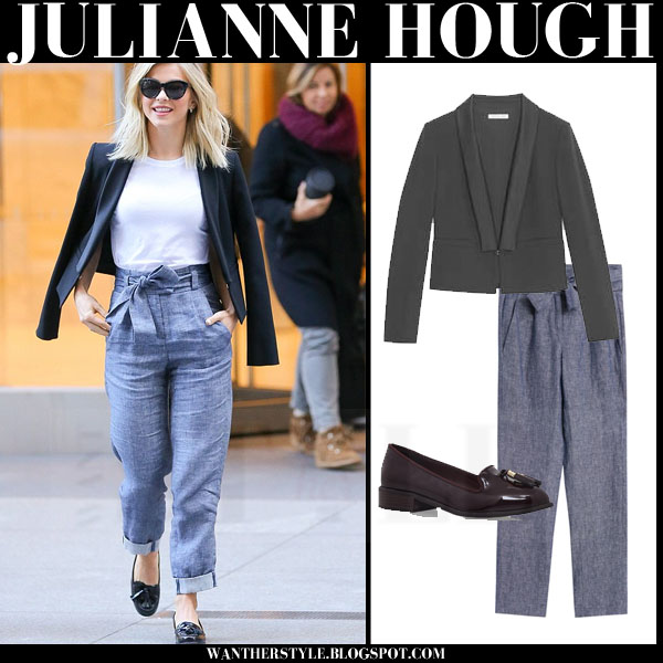 Julianne Hough in black paule ka jacket, grey maje trousers and patent loafers kurt geiger knight what she wore
