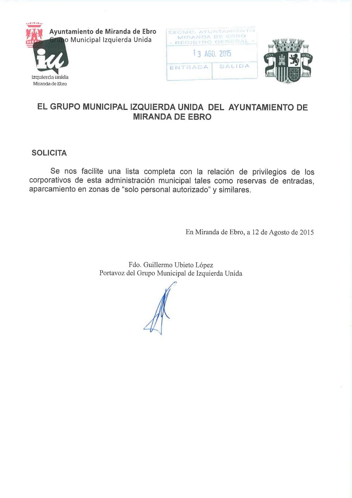 RENUNCIA A PRIVILEGIOS DE APARCAMIENTO Y SOLICITUD DE PRIVILEGIOS ...