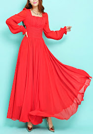 Fairy Tale Princess Big Flounce Puff Long Sleeve Chiffon Maxi