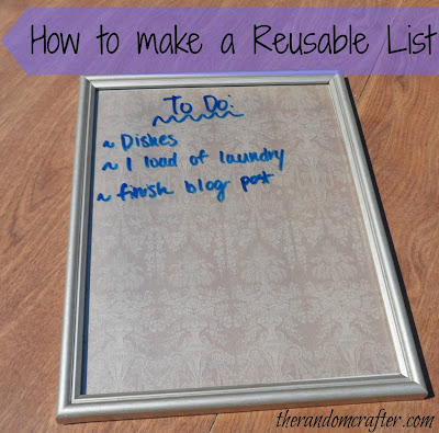 DIY Dry Erase Board Tutorial from The Random Crafter