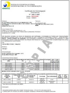 certificado de homologação do Blu Deejay II emitido pela Anatel