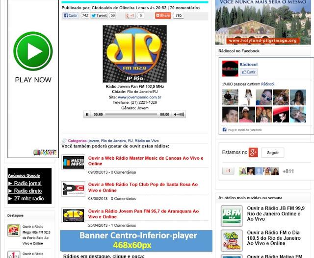 Plano da Cidade de anúncio no site Rádiocol
