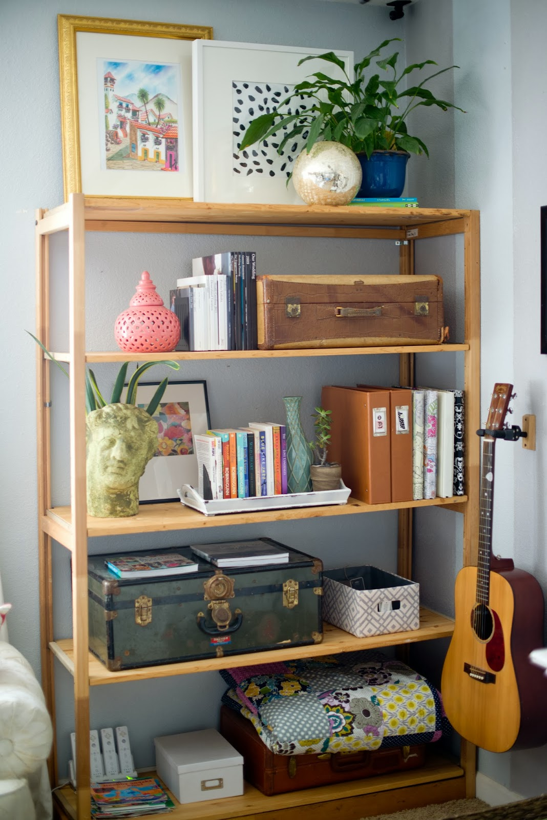 Domestic fashionista decorating around the tv and a new shelf Living room shelving ideas