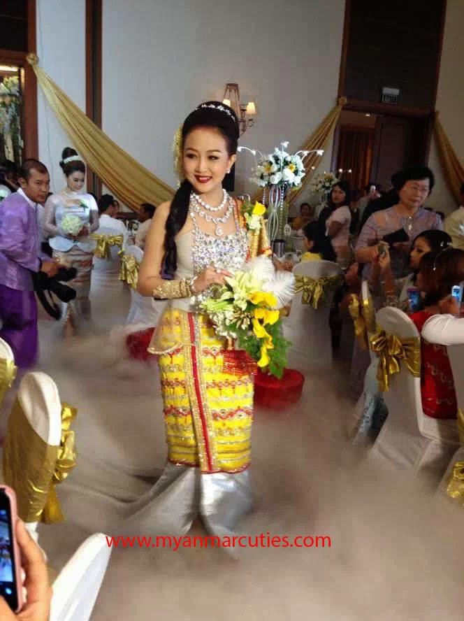 Wyne Su Khine Thein With Wedding Dress