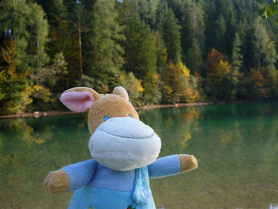 Stuffed Animal Donkey in front of a mountain lake in Austria.